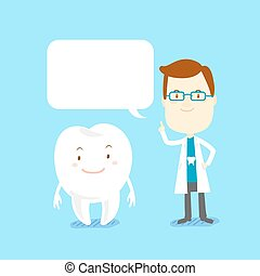 cartoon doctor and white tooth