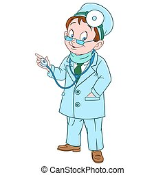 cute cartoon doctor - cute and friendly cartoon man doctor...