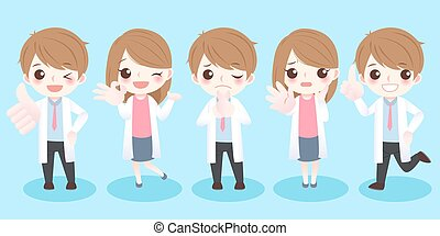 doctor do different gestures - cute cartoon doctor do...