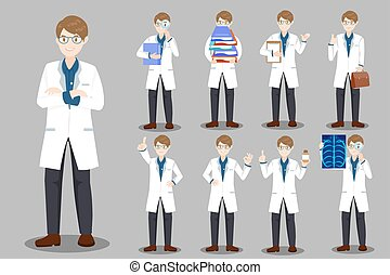 cute cartoon doctor on the gray background