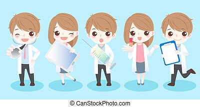 cartoon doctor take different tools - cute cartoon doctor...