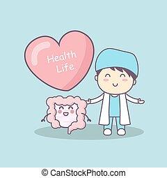 cute cartoon doctor with intestine