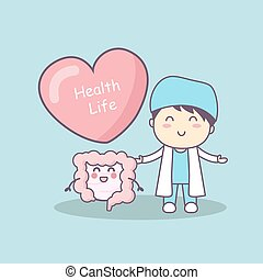 cute cartoon doctor with intestine, great for health life ...