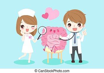 cartoon doctors with intestine