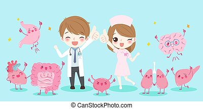 cute cartoon doctors with organ and show thumb up