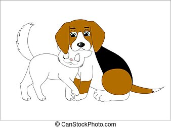 Cute cartoon dog and cat