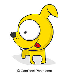 Cute cartoon dog - Cute and funny cartoon dog with huge...