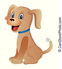 Cute cartoon dog isolated on a white background.