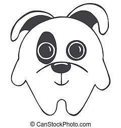 Cute cartoon dog isolated on white background. Vector illustration in sketch style