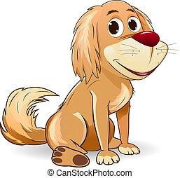 Cute cartoon dog on a white background