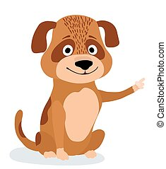 cute cartoon dog pointing. vector illustration