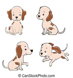 cute cartoon dog set. funny puppy isolated on white. vector illustration