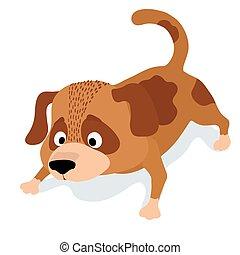 cute cartoon dog sniffing. vector illustration