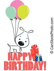 Cute cartoon dog with balloons
