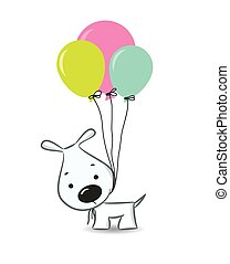 Cute cartoon dog with balloons