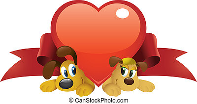 Cute cartoon dogs couple hiding under a big red heart.
