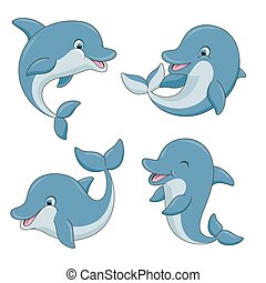 Cute cartoon dolphins set. Vector illustration.