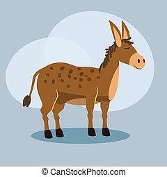 Cute cartoon donkey illustration, vector, isolated