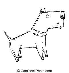 Cute cartoon doodle dog