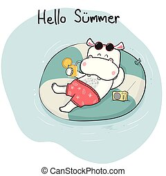 cute cartoon doodle happy hippo in short lying on life ring...
