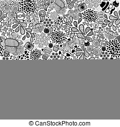Cute cartoon doodle hipster seamless pattern. Seamless...