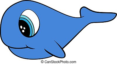 Cute Cartoon Doodle of a Blue Whale Vector. Flat Color. EPS10 format.