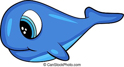 Cute Cartoon Doodle of a Whale Vector. EPS10 format. Shadow Shading