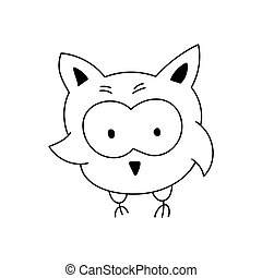 Cute cartoon doodle Owl. Logo vector Isolated on white background. outline black and white illustration, design element
