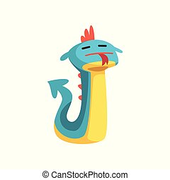 Cute cartoon dragon character with funny face vector Illustration on a white background