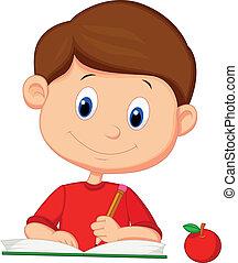 cute, cartoon, dreng, skrift, på, en, bog