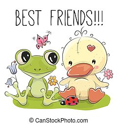 Cute Cartoon Duckling and frog - Cute Cartoon Duckling with...