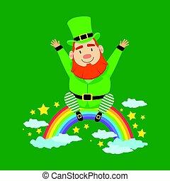 Cute cartoon dwarf Leprechaun sitting on a rainbow. Saint Patricks Day colorful character vector