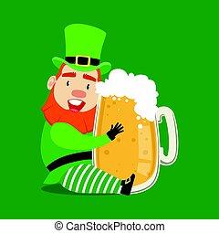 Cute cartoon dwarf Leprechaun sitting with glass mug of fresh beer. Saint Patricks Day colorful character vector