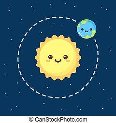 Cute cartoon Earth and Sun
