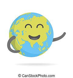 Cute cartoon earth character. World map globe with smiley face and hands vector illustration