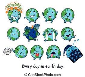 Cute cartoon Earth globe with emotions
