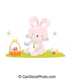 Cute cartoon Easter bunny painting eggs.