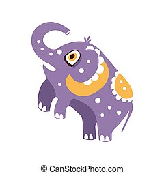Cute cartoon elephant character standing on hind legs vector...