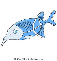 cute cartoon elephant fish