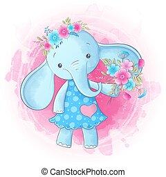 Cute cartoon elephant girl hand drawing. Vector
