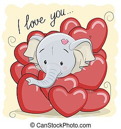 Cute Cartoon Elephant in hearts - Valentine card with Cute...