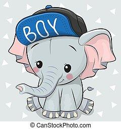 Cute Cartoon Elephant on a white background