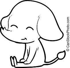 cute cartoon elephant sitting