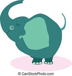 Cute Cartoon Elephant. Vector Illustartion Flat