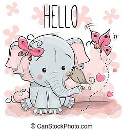Cute cartoon Elephant with bird