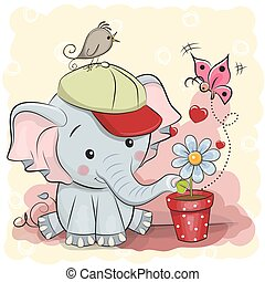 Cute cartoon Elephant with flower - Greeting card cute...
