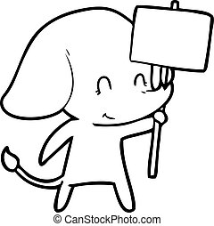 cute cartoon elephant with sign