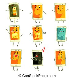 Cute cartoon emoticon phones with funny faces set. Smartphones with different emoticons characters