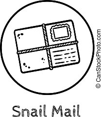 Cute cartoon envelope doodle image. Snail mail logo. Media highlights graphic symbol