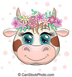 Cute cartoon face cow in a wreath of flowers with beautiful blue eyes. Children s illustration.
